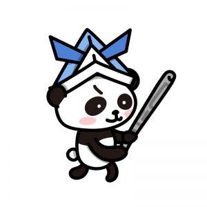 兜をかぶったパンダ