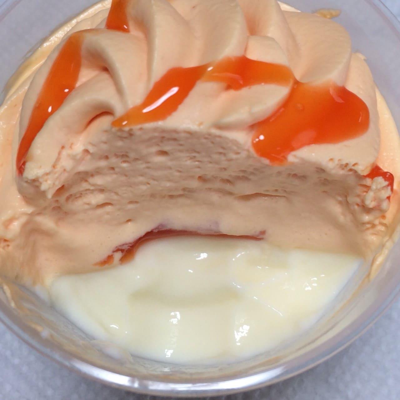 赤肉メロンホイップのミルクプリン断面