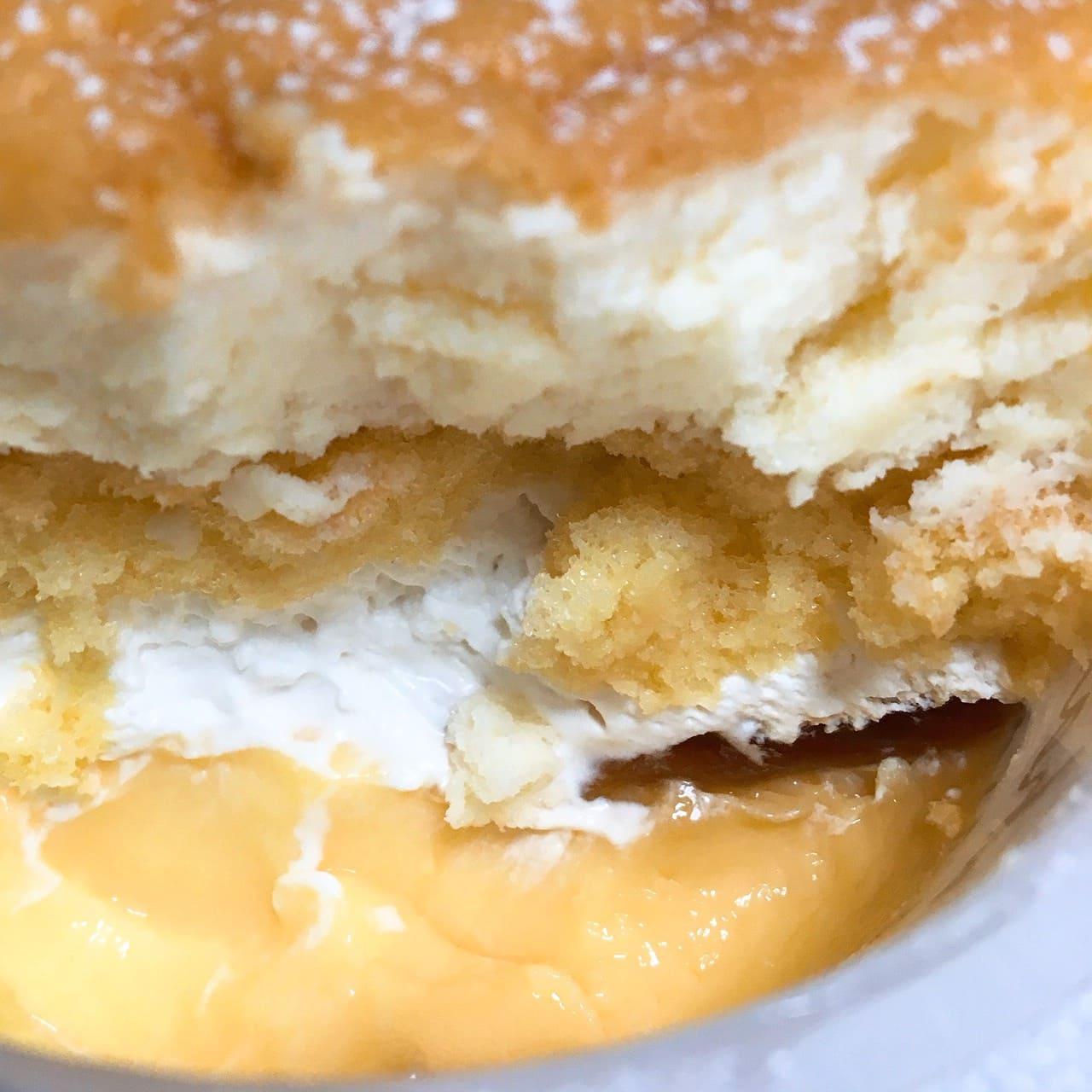チーズスフレプリンのホイップとカラメル