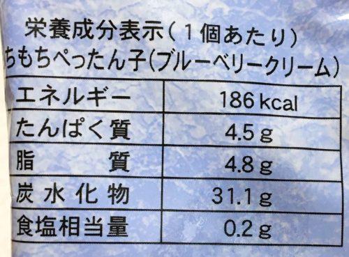 もちもちぺったん子~ブルーベリークリーム~栄養成分表示