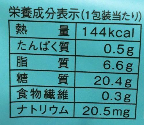 チョコミントわらび大福栄養成分表示